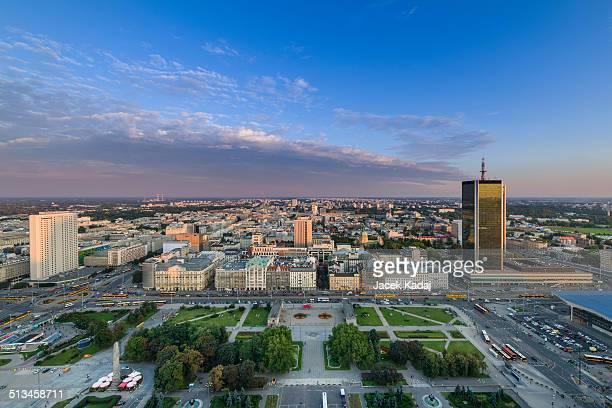 Panorama of Warsaw city during sundown