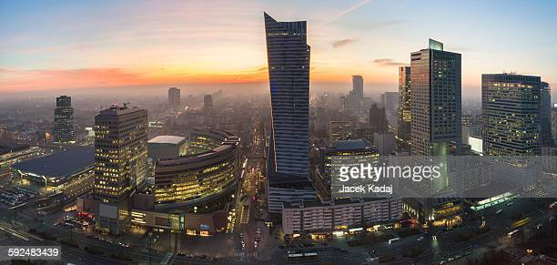 Panorama of Warsaw during sundown
