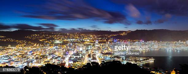 Panorama of Wellington city at night, New Zealand