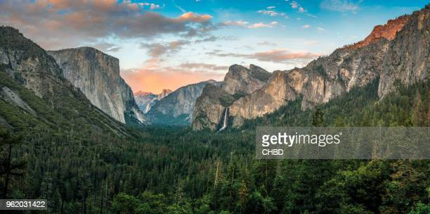 panorama of yosemite valley at sunset - california stock pictures, royalty-free photos & images