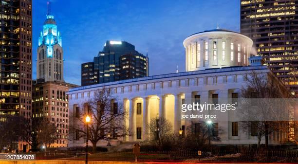 panorama, ohio statehouse, columbus, ohio, america - オハイオ州庁舎 ストックフォトと画像