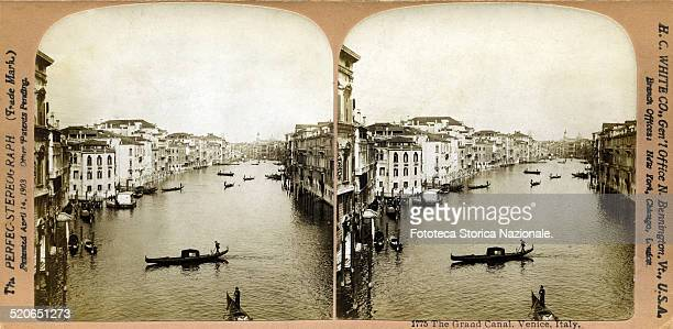 Panorama on the main canal in Venice that crosses all the city from the railway station to the end of the lagoon, up to the sea. Stereophoto, Italy,...