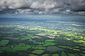 panorama over english countryside cloudy day