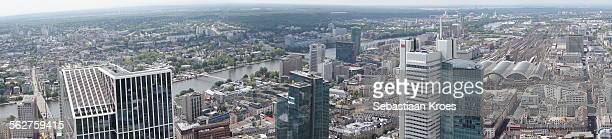 panorama over frankfurt am main, germany - frankfurt international airport stock pictures, royalty-free photos & images
