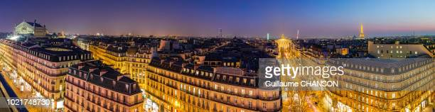 Panorama over Paris with many monuments at Blue hour, Paris, France.