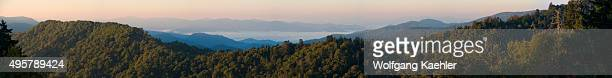 Panorama photo at sunrise from the Newfound Gap Overlook of the Great Smoky Mountains National Park in North Carolina USA