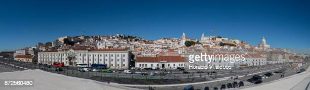 Panorama photo of Alfama neighborhood as seen from the terrace of Lisbon Cruise Port the new cruise terminal on November 10 2010 in Lisbon Portugal...