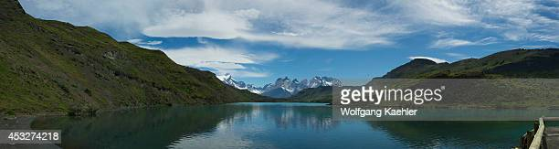 Panorama photo of Lago Pehoe with Cuernos del Paine Mountains in Torres del Paine National Park in Patagonia Chile