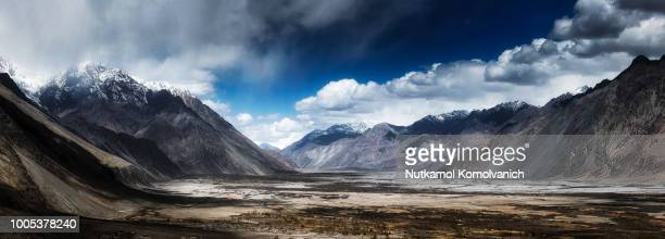 Panorama photo of Nubra valley in cloudy day