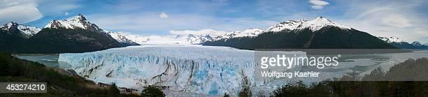 Panorama photo of Perito Moreno glacier in Los Glaciares National Park near El Calafate Patagonia Argentina