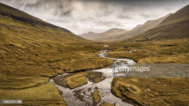 panorama saksun valley svarta river faroe islands streymoy island drone view - mlenny stock pictures, royalty-free photos & images