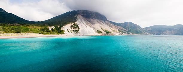 Panorama shot of Kozushima Island and blue water