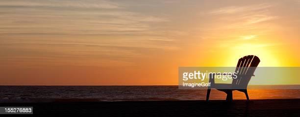 Panorama Silhouette of Muskoka Chair on the Beach