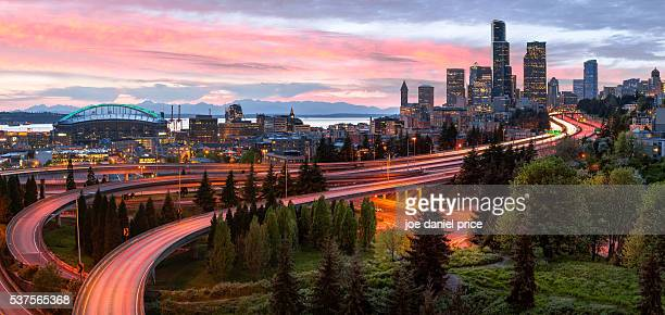 panorama, skyline, sunset, seattle, washington, america - seattle stock pictures, royalty-free photos & images