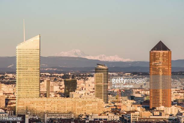 panorama sunset city of lyon with the mont blanc - lyon photos et images de collection