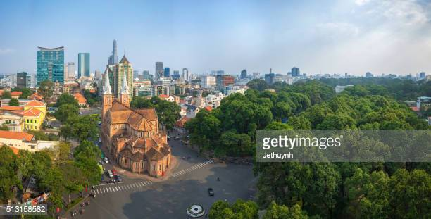 Panorama Top view of downtown Ho Chi Minh City around Duc Ba Church