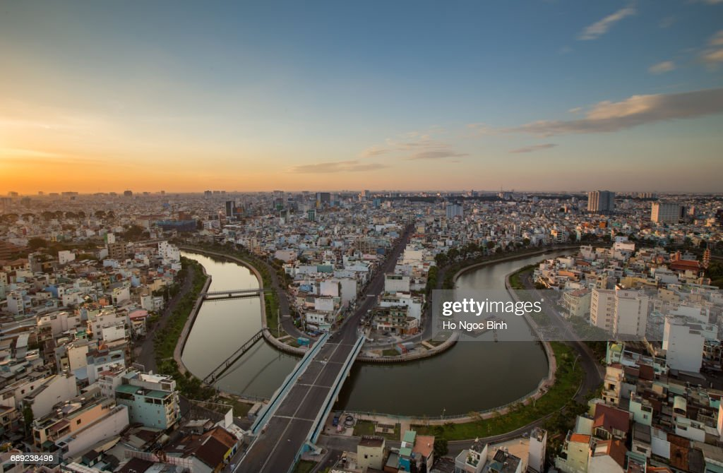 Panorama Top view of Ho Chi Minh City downtown at everning : Stock Photo