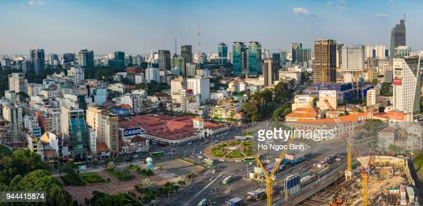 Panorama Top view of Ho Chi Minh City downtown