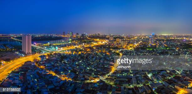 panorama top view of ho chi minh city - housing around thu thiem bridge - thiem stock pictures, royalty-free photos & images