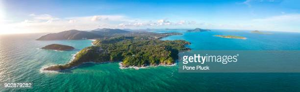 panorama top view of phuket island - ko samui bildbanksfoton och bilder