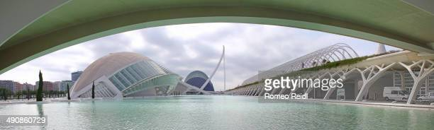 Panorama under the bridge of Pont de Montolivet from the City of Arts and Sciences in Valencia, Spain.