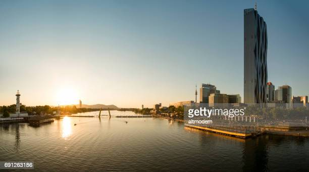 panorama vienna danube city and danube island - danube river stock pictures, royalty-free photos & images