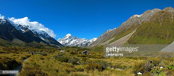 Panorama view in Hooker valley track, Mt.Cook New Zealand.