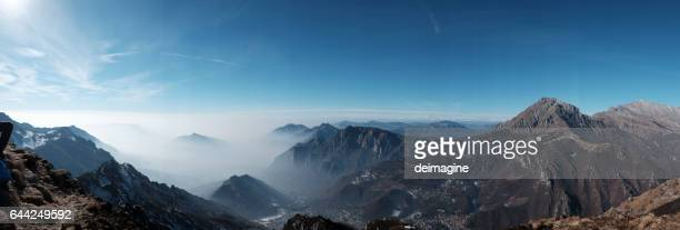 Panorama view Italian alps mountains