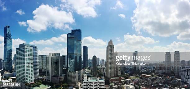 panorama view of bangkok city. - bangkok fotografías e imágenes de stock