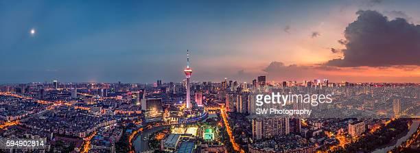 panorama view of chengdu city, china - 成都 ストックフォトと画像