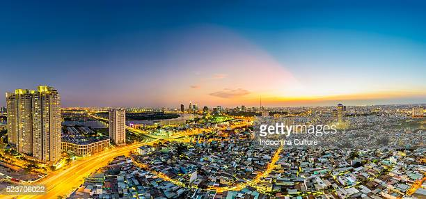 Panorama view of cityscape and skyline at dusk, Ho Chi Minh city, Vietnam