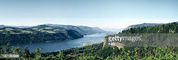 panorama view of columbia river gorge, oregon - columbia river gorge stock pictures, royalty-free photos & images