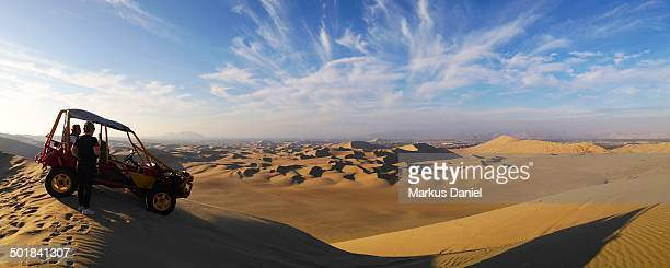 Panorama view of desert dunes near Ica, Peru