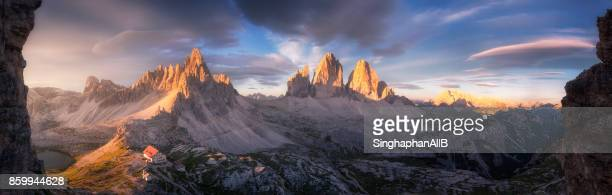 panorama view of dolomite alps, south tyrol, italy - panoramic stock pictures, royalty-free photos & images