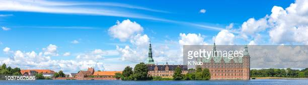 panorama view of frederiksborg castle with hillerod city and pond near copenhagen denmark europe scandinavia - hillerod stock pictures, royalty-free photos & images