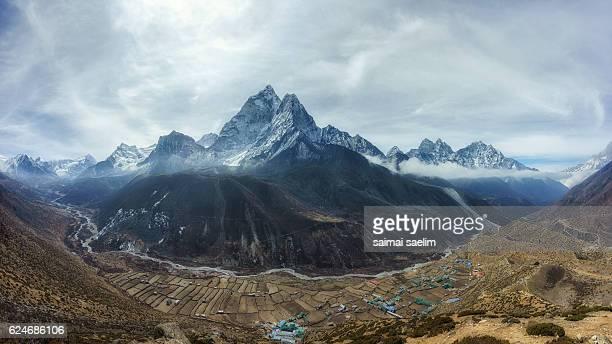 Panorama view of Himalayan mountain range, from Nangkartshang Peak, Dingboche village, Everest region