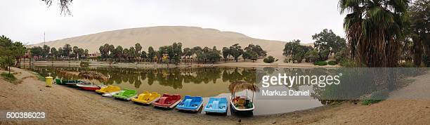 Panorama view of Huacachina Oasis lake