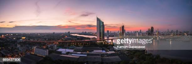 Panorama view of king rama 9 bride in twilight period the dream destination landmark in Bangkok,Thailand