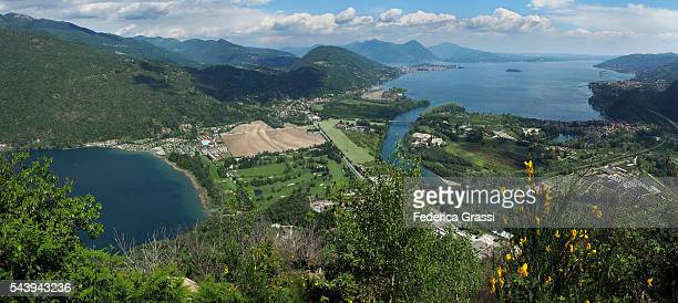 panorama view of lake mergozzo and lake maggiore in northern italy. - stresa stock pictures, royalty-free photos & images