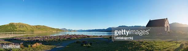 Panorama view of Lake Tekapo New Zealand, South island.