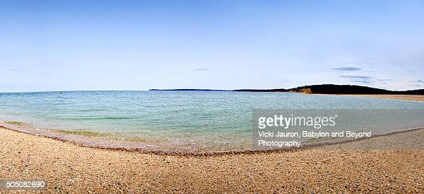 panorama view of long island sound at caumsett state park - huntington suffolk county new york state stock pictures, royalty-free photos & images