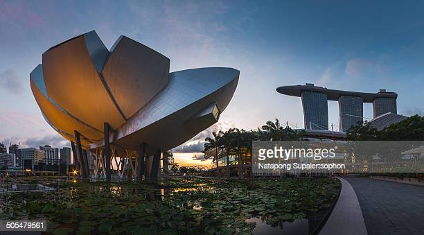 CONTENT] Panorama view of Lotus Art Science Museum beside Marina Bay Sands at Marina Bay Singapore