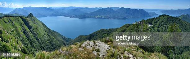 Panorama View Of Military Road Of Mount Morissolo And Lake Maggiore In Northern Italy