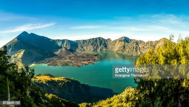 Panorama view of Mount Rinjani, Volcano in Indonesia.
