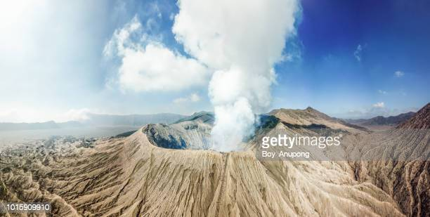panorama view of mt.bromo crater view from above. - volcanic terrain stock photos and pictures