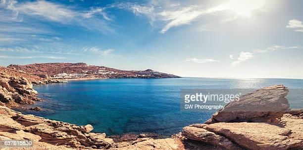 Panorama View of Mykonos Bay Beach