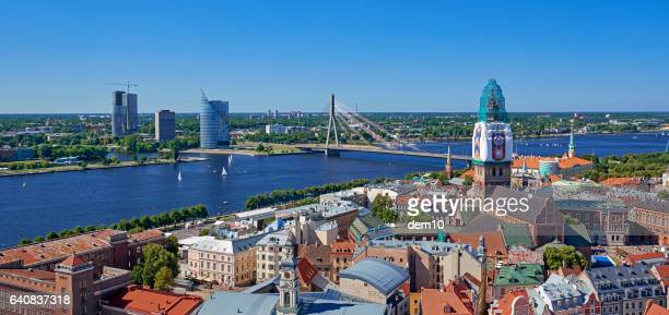 panorama view of old riga - latvia stock pictures, royalty-free photos & images