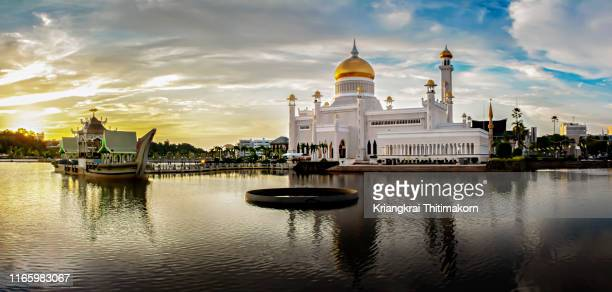 panorama view of omar ali saifuddien mosque. - brunei stock pictures, royalty-free photos & images