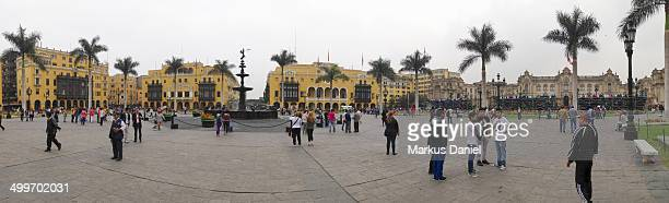 CONTENT] Panorama view of Plaza de Armas in Lima Peru on a very typical overcast day This place also has the Lima Cathedral many historical buildings...