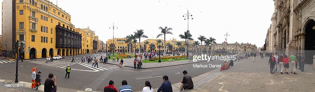 Panorama of Plaza de Armas in Lima, Peru : News Photo